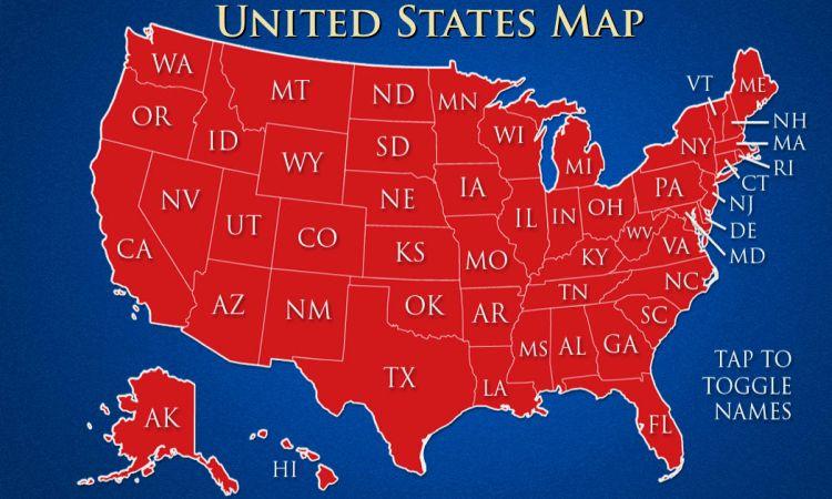 Карта Америки со штатами и городами на русском языке